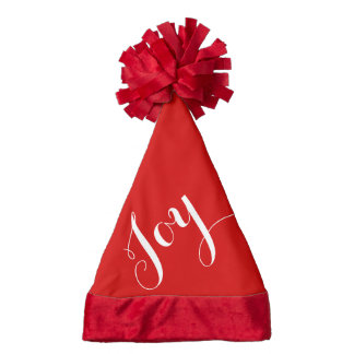 Red And White Joy Text Santa Hat