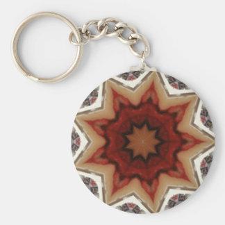 Red and white kaleidoscope basic round button key ring