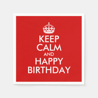 Red and White Keep Calm and Happy Birthday Disposable Serviettes