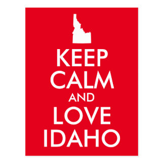 Red and White Keep Calm and Love Idaho Postcard