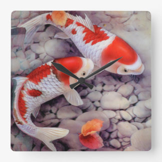 Koi wall clocks for Red and white koi fish