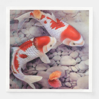 Red and White Koi Fish Pond Disposable Serviette