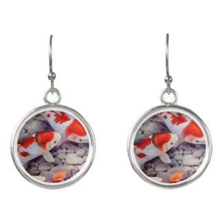 Red and White Koi Fish Pond Earrings