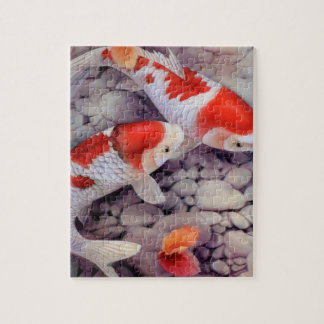 Red and White Koi Fish Pond Jigsaw Puzzle