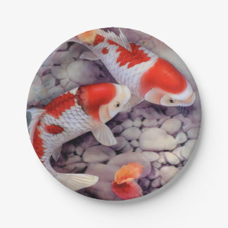 Red and White Koi Fish Pond Paper Plate