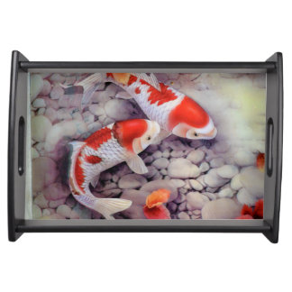 Red and White Koi Fish Pond Serving Tray