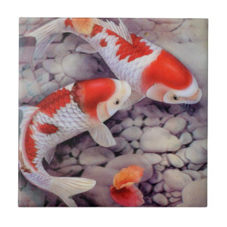 Fish pond ceramic tiles for Red and white koi