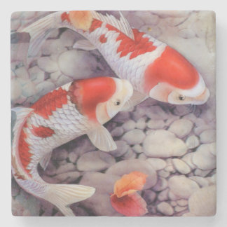 Red and White Koi Fish Pond Stone Coaster