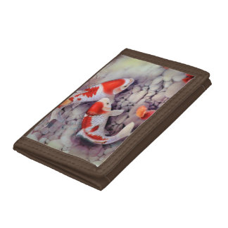 Red and White Koi Fish Pond Trifold Wallets