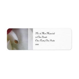 Red and White Ladybug Petals Wedding Return Address Label