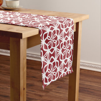 Red and White Large Scale Pattern Table Runner