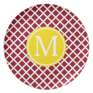Red and White Lattice With Yellow Monogram Plate