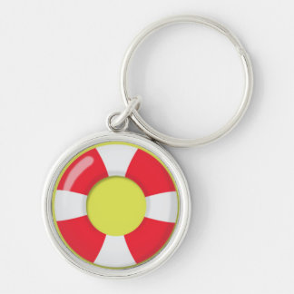 Red and White  Lifeguard Rubber Ring Floatie Key Ring