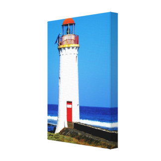 Red and white lighthouse at Cape Bridgewater Gallery Wrapped Canvas