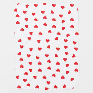 Red and White Love Heart Baby Blanket