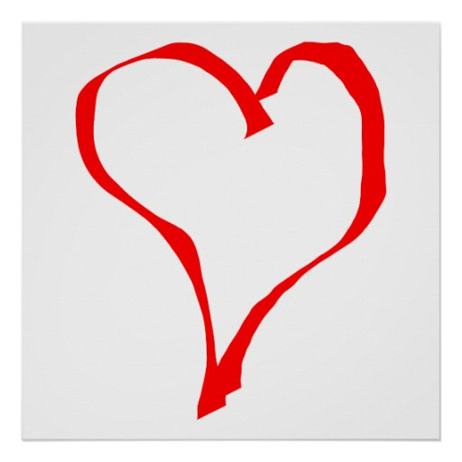 Red and White Love Heart Design. Print