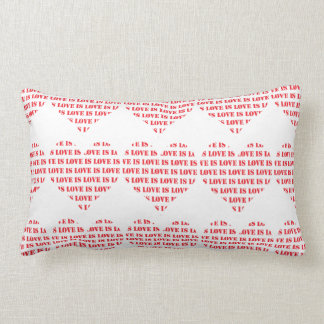 Red and white love is love hearts pattern lumbar cushion