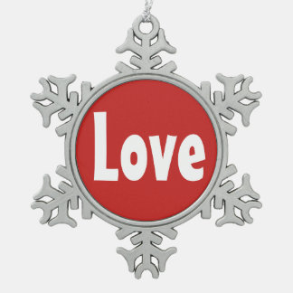 Red and White Love Word Design Snowflake Pewter Christmas Ornament