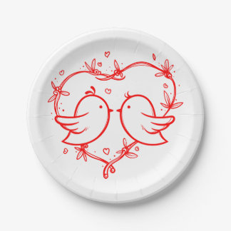 Red And White Lovebirds And Hearts Wedding Party Paper Plate