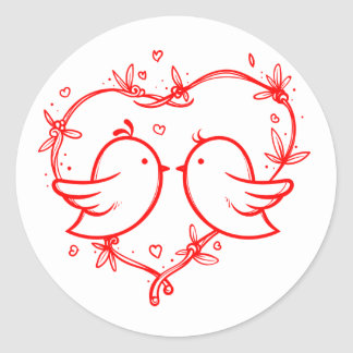 Red And White Lovebirds & Heart Wedding Engagement Classic Round Sticker