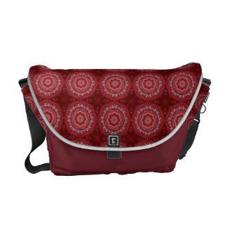 Red And White Mandala Pattern Courier Bags