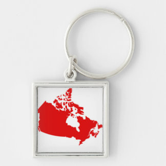 Red and White Map of Canada Silver-Colored Square Key Ring