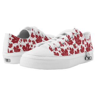 Red and White Maple Leaves Pattern Low Tops