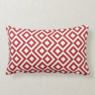 Red and White Meander Lumbar Cushion