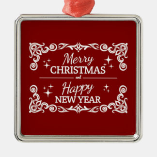 Red And White Merry Christmas And Happy New Year Metal Ornament