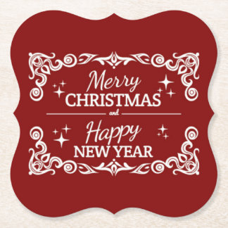 Red And White Merry Christmas And Happy New Year Paper Coaster