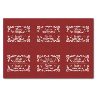 Red And White Merry Christmas And Happy New Year Tissue Paper