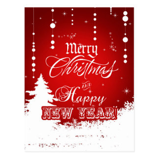 Red and White Merry Christmas & Happy New Year Postcard