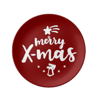 Red And White Merry Xmas Plate