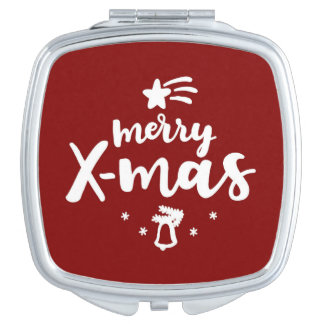 Red And White Merry Xmas Travel Mirror