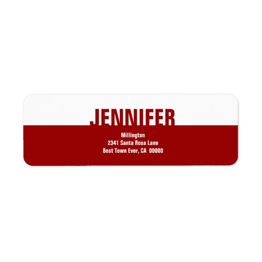 Red and White Modern Custom Address Label