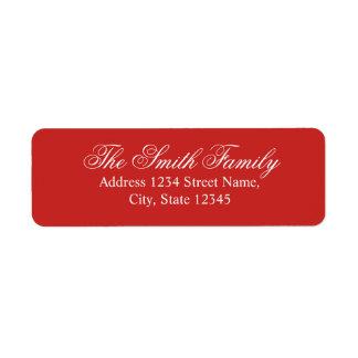 Red and White Modern Elegant Family Name Return Address Label
