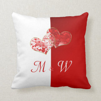 Red and white  Monogram flag of love Throw Cushion