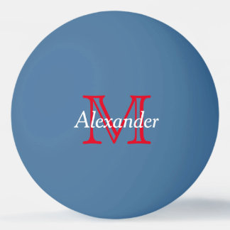 Red and White Monogram on Blue Ping Pong Ball