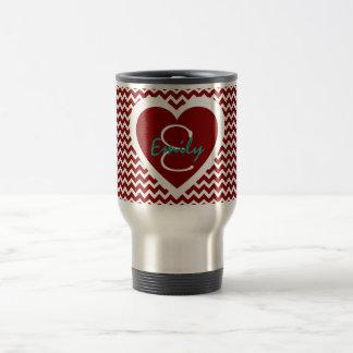 Red and White Monogram on Heart Travel Mug