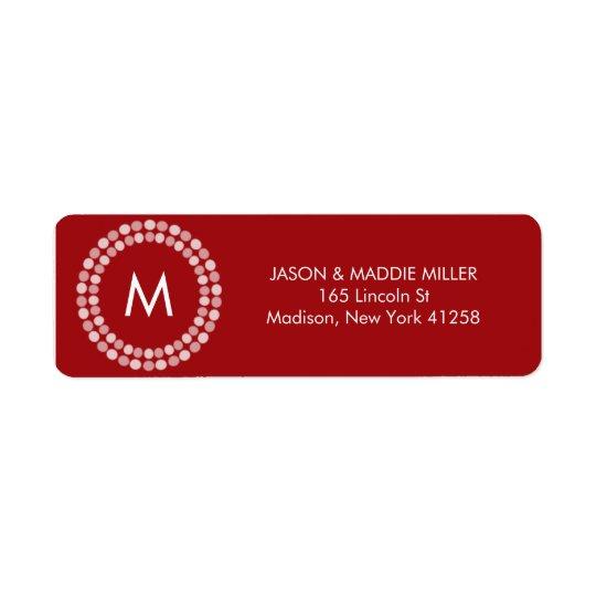 Red and White Monogram Return Address Label