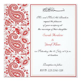 Red and white Muslim wedding 13 Cm X 13 Cm Square Invitation Card