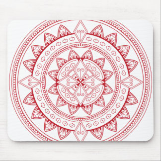 Red and White Mystical Mandala Mouse Pad
