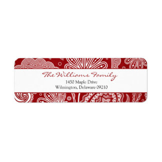 Red and White Paisley Personalized Return Address Return Address Label