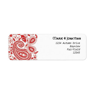 Red and white paisley wedding return address label