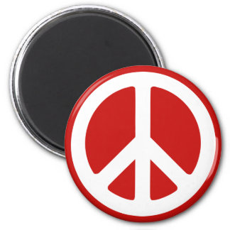Red and White Peace Symbol 6 Cm Round Magnet