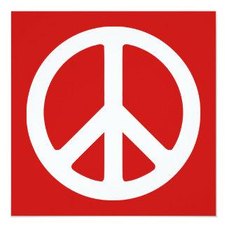"Red and White Peace Symbol 5.25"" Square Invitation Card"