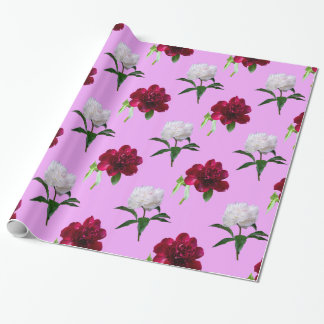 Red And White Peony Pattern Wrapping Paper