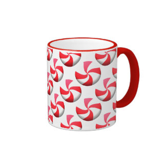 Red and White Peppermint Candy Mug