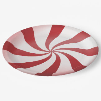 Red and White Peppermint Candy Paper Plates 9 Inch Paper Plate