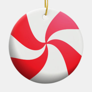 Red and White Peppermint Candy Round Ceramic Decoration